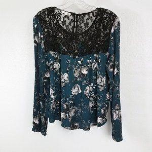 Women's Black Lace Floral Boho Blouse Shirt Top
